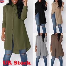 Womens Chiffon Long Sleeve Shirt Long Tops Lady Loose Casual Short Dress Blouses