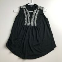 Market & Spruce Women's Sleeveless Blouse Small S Black White Embroidered Casual