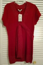 """WOMEN'S """"EXTRA TOUCH"""" RED V-NECK SHORT SLEEVE SWEATER WITH SCARF, SIZE 1X"""