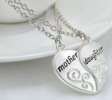 NEW Mom Mother Daughter Day Love Heart Silver Tone 2 Pendants Charm Necklace