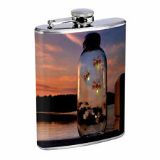 Fireflies D9 Flask 8oz Stainless Steel Hip Drinking Whiskey Insect Glow Bugs