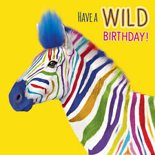 Funky Zebra 3D Fluff Handmade Birthday Greeting Card Wild Animal Lovers