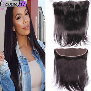 "+HOT! Peruvian Silk Straight Full Lace Frontal Closure Virgin Human Hair 13""x2"""