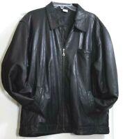 Vintage 80's Mens Leather Black Full Zip Quilted Lining Size Medium Coat Jacket