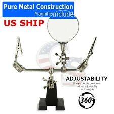 Third Hand Soldering Solder Iron Stand Holder Magnifier Helping Station Tool