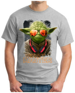 OM3 Herren T-Shirt Star Dj Yoda Jedi Ritter Wars Turntables Music Rave S-4XL