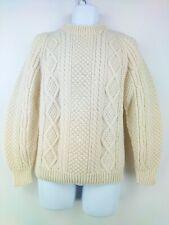Hand Knit Irish Fisherman's Style Sweater Ivory Aran Cable Knit Women L / Men S