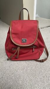 Ralph Lauren Nylon/ Leather Red Backpack Good Condition