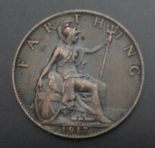 UK Great Britain Farthing 1917. KM#808.1. Quarter Cent Penny coin. George V.