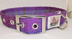 Pink and blue Check Harris Tweed dog collar & lead set   Various sizes FREE P&P