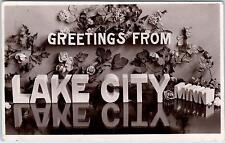 Rppc Lake City, Mn Minnesota Unusual Large Letter 1908 Postcard