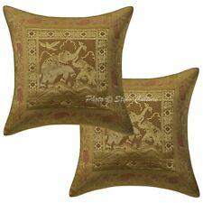 Indian Ethnic Brocade Pillow Cushion Cover Home Decor Elephant Pillowcase Throw