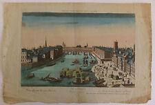 Le pont Notre-Dame à Paris vue d'optique XVIIIème siècle