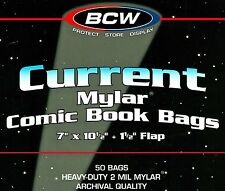 100 New Current 2 mil Comic Mylar Bags 7 Inch Wide Bcw Archival Book Storage