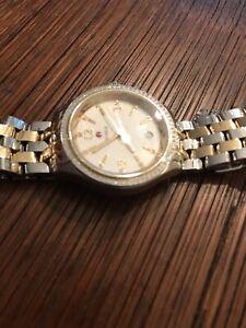Michele Belmore Diamond Yellow Gold Silver Two Tone Watch with Diamond Bezel