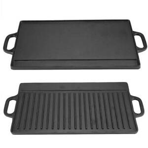 Cast Iron Frying Pan Grill BBQ Skillet Double Side Reversible Griddle Hot Plate