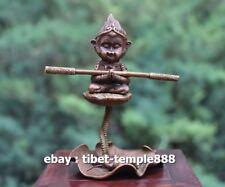 12 CM Chinese bronze Monkey king Sun Wukong sculpture refluent incense stents
