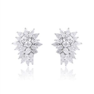 14k White Gold Real 5.80 Ct. HI/SI Diamond Stud Earrings Fine Handmade Jewelry