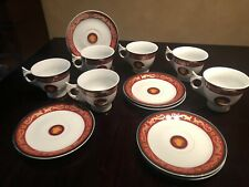 VERSACE SET OF SIX CUPS AND SAUCERS GREEK KEY RED WITH GOLD GILDING