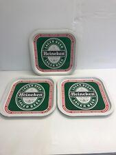 3 x Vintage Heineken Pub Beer Trays - Metal, Used Cond