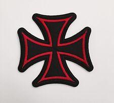 Iron Cross Patch Red & Black Maltese Punk Biker Outlaw