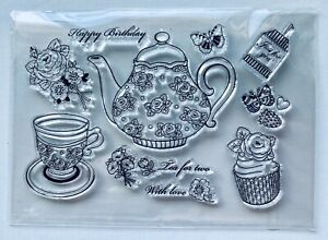 NEW• BIRTHDAY TEA TIME STAMP SET - Clear Unmounted Stamping Stamp AUSSIE SELLER