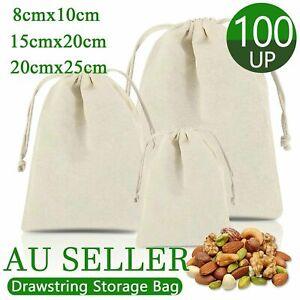 10-100Pcs 6 Sizes Drawstring Storage Bags Calico Bags Cotton Tote Gift Bag Bulk