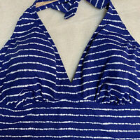 18 Lands End Blue White Stripe Swim Tankini Halter Top Soft Cup Soft Matt Blue