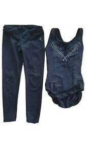 Girls smart black gymnastic leotard and leggings matching set age 5-7