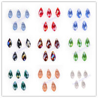 10Pcs Faceted Teardrop Pendant NecklaceFinding Spacer Loose Glass Beads 8x16mm