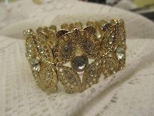 Light Yellow Gold Tone & Clear Plastic Bead Elasticated Bracelet