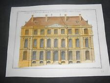 1727 COPPER ENGRAVING HAND COLORED HOUSE MALLET GENEVE SWITZERLAND MARIETTE 2