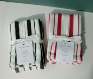 NEW Set of 8 Classic Stripe Dish Cloths by WILLIAMS-SONOMA - (2 Sets of 4)