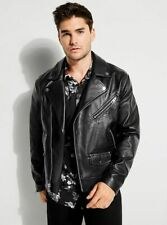 Guess Men's Long Sleeve Rising Tiger Moto Leather Jacket Size S Small