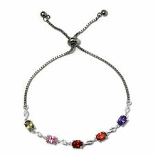 Simulated Multi Color Diamond Bolo Bracelet in Sterling Silver & Stainless Steel
