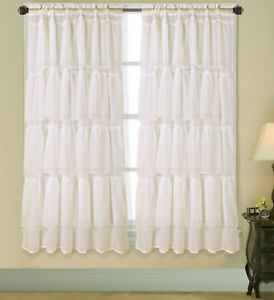 SHORT MULTILAYERS VOILE SHEER FABRIC WINDOW CURTAIN RUFFLE PANEL 1PC GYPSY NEW