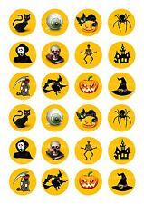 24 Commestibili Decorazioni per Torta WAFER CARTA ND3 Arancione Halloween Strega Gatto Nero SPOOKY