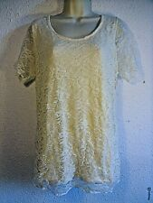 Brand New Elegance Cream Tunic Top With Lace Front & Short Sleeves.Viscose.UK 18