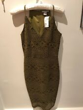 BNWT Party Clubbing H&M Lace Olive Green Dress Size UK 8