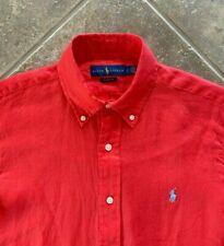 Ralph Lauren Oxford Shirt Mens XL 100% Linen Red w/ Blue Pony Long Sleeve NWT