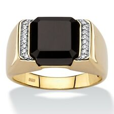 14K GOLD OVER STERLING SILVER CZ BLACK  ONYX MENS RING SIZE 8 9 10 11 12 13
