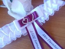 BRAND NEW PERSONALISED WEDDING GARTER/HEN GARTER WHITE/IVORY + CHOICE OF COLOURS