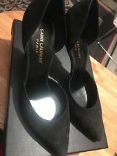 New Saint Laurent Paris 105 Suede Black Heels 38.5 (8.5)