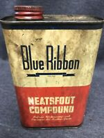 VINTAGE BLUE RIBBON PRIME NEATSFOOT COMPOUND METAL Tin CAN 32 FL OZ