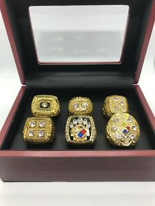 6 Pcs Pittsburgh Steelers Super Bowl Championship Ring Gold Set with Box