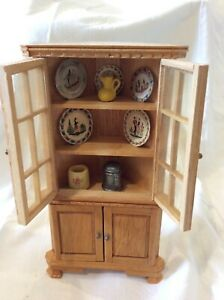 Vintage Dollhouse Miniature Corner Cabinet Hutch with Dishes 1:12