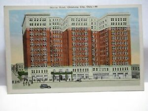 "1920s KROPP CO POSTCARD "" SKIRVIN HOTEL, OKLAHOMA CITY OKLA "" STORE FRONTS UNUSE"