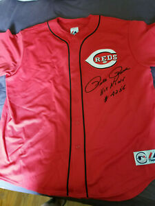Pete Rose signed Majestic Reds Jersey Mounted Memories COA