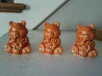 Vintage Teddy Bear Salt & Pepper Shakers + Toothpick holder JAPAN