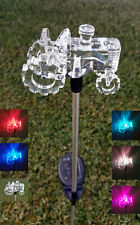 Set of 2 Garden Decoration Clear Acrylic Tractor Solar Yard Stick Color Change